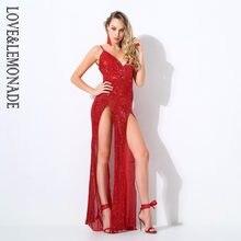 Love Lemonade Red Cut Out Deep V Neck Open Back Elastic Sequins Long Dress  LM0758 2f3691ee6dc4