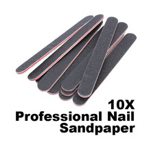 10PCS Black Double Sided Nail Art Buffer Buffing Sanding Files Salon Manicure UV Gel Polisher Buffer Pedicure Manicure Care HB88(China)