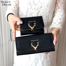 Mara's Dream 2017 Women Wallet PU Leather Latest Christmas Deer Luxury Cash Purse Girl Small Black Clutch coin purses holders(China)