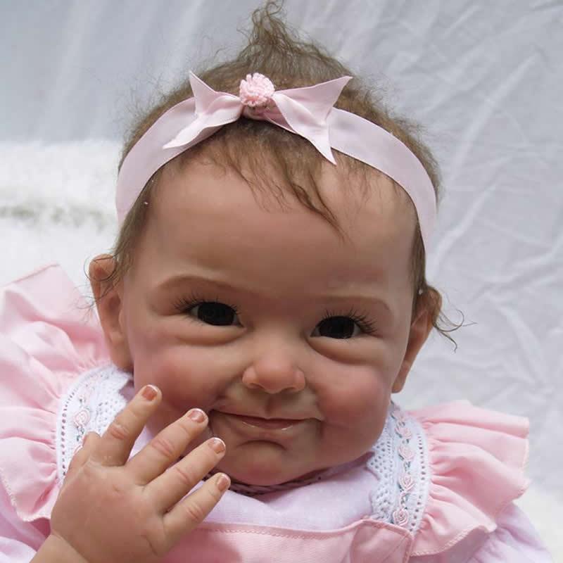 Lovely 22 Inch Reborn Silicone Baby Dolls Newborn Lifelike Babies Doll Toy Handmade Cloth Body Brinquedo Kids Birthday Xmas Gift<br><br>Aliexpress