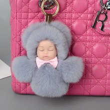 Fluffy Rabbit Fur Sleeping Baby Pompon Doll Key Chain Women Trinket Pompom Bunny Fur Bag Car Keychain Christmas New Year Gift(China)