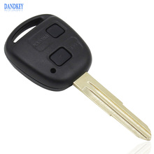Dandkey 2 Button Remote Car Key Shell Case For Toyota Yaris With TOY41 Uncut Blade With Rubber Button Pad