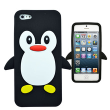 3D Cute Penguin Soft Silicone Rubber Skin Phone Case Cover For Apple iPhone 5 5G 5S 5C SE 6 6G 6S 7 Plus