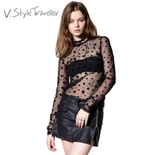 Sheer Black Blouse Women Stars Long Sleeves Chic See Through Shirt Sexy blusa Casual ropa mujer veste femme Boho Resort Wear Tee