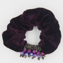 Furling Girl  1PC Quality Elegant Beaded Soft Velvet Fabric Scrunchie Head Band Elastic Hair Bands Ponytail Holder