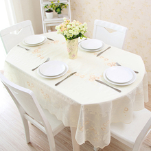 Telescopic folding table oval pvc table cloth waterproof anti-oil anti-hot-free European lace plastic tablecloth jj035