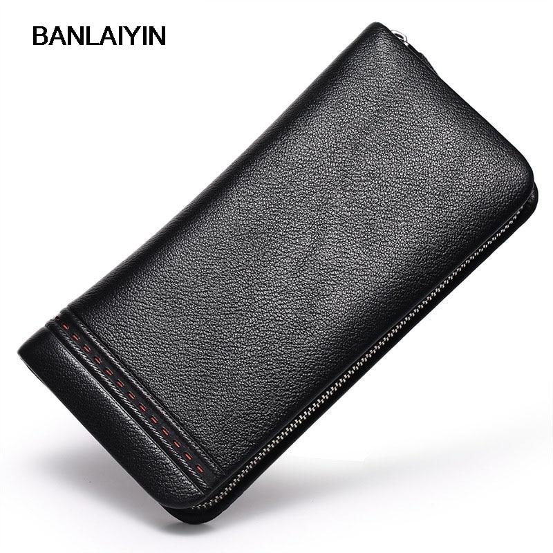 Brand Men Zipper Clutch Bags Luxury Retro Male Cow Leather Purse Mens Wallets Man Purse Simple Design Hand Bag<br>