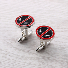 J Store Souvenir Movie Superheroe Deadpool Cufflinks Red Black Alloy Men Jewelry Shirt Accessories Cuff Links For Boyfriend Gift