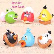 6pcs/lot 4cm Crazy Birds Cartoon Movie RED FIRE YELLOW CHUCK BLACK BOMB MATILDA BLUE ICE GREEN BACK Birds Kids Gifts Toy Figures