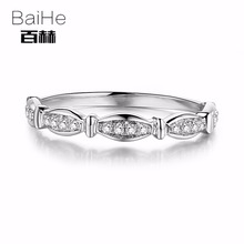 BAIHE Sterling Silver 925 0.15CT Certified H/SI 100% Genuine Natural Diamonds Engagement Women Trendy Fine Jewely Ring(China)