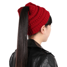 Winter Fashion Women Girls Stretch Knit Hat Messy Ponytail Hats Beanie Cap Soft Warm Popular Cap Fashion Accessories(China)