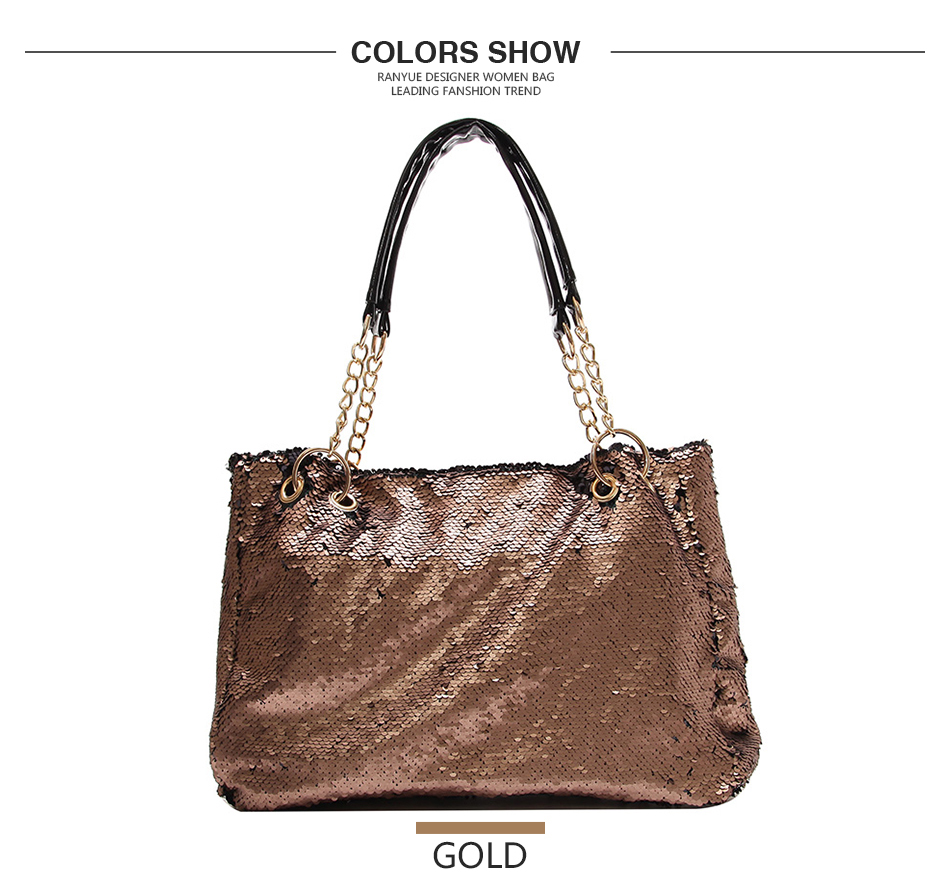 Chain Glitter Sequins Women Bag Big Large Capacity Tote Bags For ... be06a1f4abec