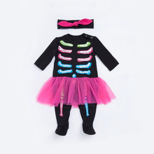 Baby Girl Romper Spring Personality Skeleton Style Long Sleeve Baby Romper+Headband 2pcs Suits Warm Jumpsuit Newborn Clothing(China)