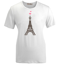 Summer Fashion Casual Cotton Round neck T shirt Cute LOVE Eiffel Tower in France Graphic Women Girl Short Sleeves T-shirt Tops