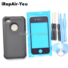 For iPhone 4G 4S Black New Back Cover Protect Case Bag and Front Glass Replacement with Free Tool Kit
