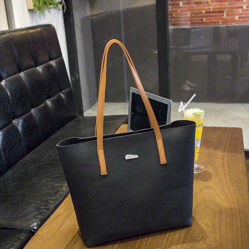 2017 New Women Large Tote Bags Ladies Solid Color Fashion Shoulder Bag Female Black White Korean Casual Handbag schouder tassen <br>