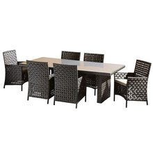 2017 Hot sale wicker and poly rattan handmade poly rattan dining furniture(China)
