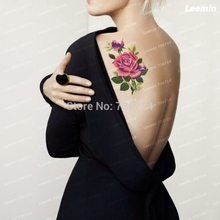 LEEMIN temporary tattoo, purple flower and yellow rose, back/arm/ Thigh, Waterproof tattoo sticker, boy art women