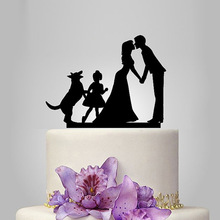 2017 Acrylic Hot Kissing Wedding Cake Topper/Wedding Stand/Wedding Decoration Wedding Cake Accessories Casamento 1 Girl 1 Dog