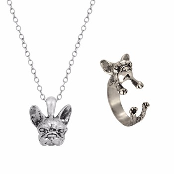 Kinitial New Style Hippie Chic French Bulldog Necklace&Ring Boho Complete Set Dogs Best Friends Gift For Men Women Fine Jewelry