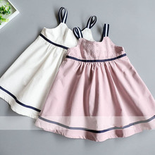 Girl Stripe Dresses 2017 Summer Girl Cotton Embroidery Dress Cute Belle Dresses High-grade Children Clothing Belle Clothes