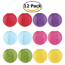 Colorful  12pcs 6 Colors 25cm Round Paper Lantern with Wire Ribbing (Red+Light Green+Rose Red+Sky Blue+Dark Purple+Yellow)