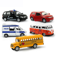 Feichao 5Pcs/set 1:64 Pull Back Alloy Car Toy Openable Doors Mini School Bus Ambulance Diecast Model Educational Toys for Boys(China)