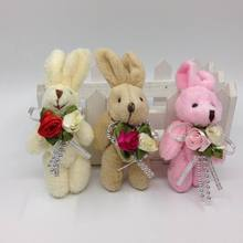 8cm x12pcs Lovely Plush Jointed Bunny Rabbit With Flower Bag Jewel Craft/baby shower/decoration/bow Soft Toys Pink/Beige/Brown