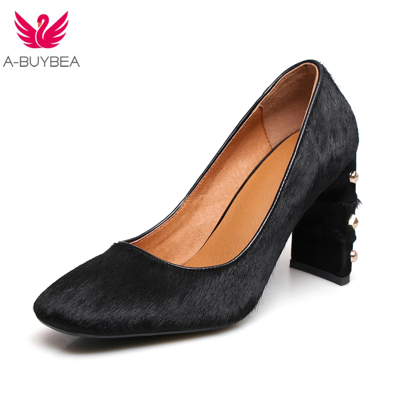2018 Spring New Pumps Genuine Leather Horsehair Women Pumps Easy Thick 8cm High Heels Square Toe Shoes Woman High Quality shoes<br>
