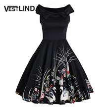 VESTLINDA Elegant Bowknot Swan Print Dress Women Black Sleeveless A Line Vintage 1950 Style Dresses Femme Party Midi Vestidos