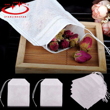 High quality 100Pcs/Lot 5.9 x 8cm Tea Bag String Heal Seal Filter Paper Teabag For Herb Loose Tea Strainers Infusers(China)