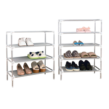 Household Furniture Shoe Storege Racks Folding Multilayer Non-woven +Stainless steel Combination Dustproof Portable Shoes Shelf(China)