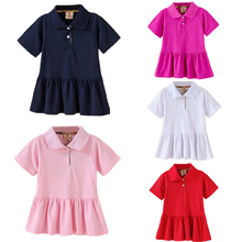 Baby Girl Summer Tennis Dress Solid Color Girls Sports Short Sleeve Dresses Kids Polo Pleated Dress Breathable Clothing(China)