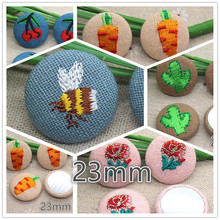 10pcs 23mm embroidery bee/flower/strawberry Flatback Fabric Covered round Buttons Home Garden Crafts Cabochon Scrapbooking