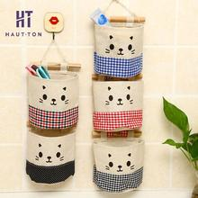 Cotton Fabric Pouch Bag Storage Bag Home Organizer Cute Cat Expression Storing Storage Bag Door Wall Hanging Organizer(China)