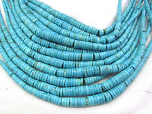 Full strand 17inch Turquoise Stone Heishi Pinwheel Rondelle brown blue green white turquoise Gemstone Bead Necklace 6-12mm(China)
