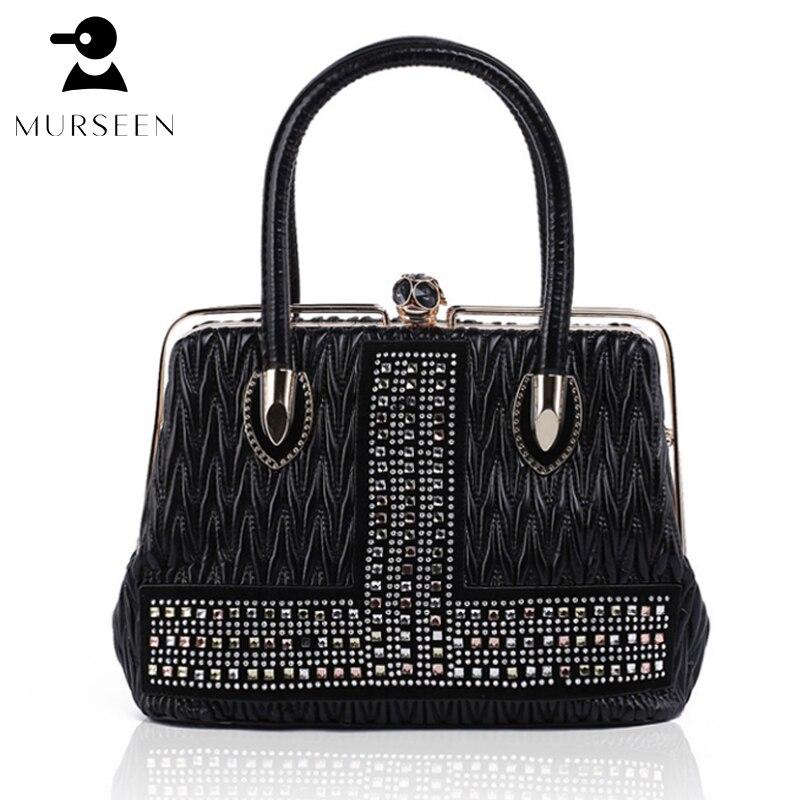 MURSEEN Women Leather Handbags high quality luxury brand new 2018 Ladies Hot Medium PU leather Tote Bag Metal Frame opening<br>