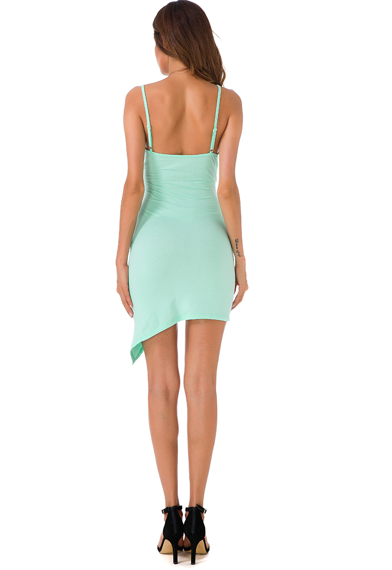 Forefair Sexy Ruched Cross V- Neck Strap Dress 2017 Summer Light Green Cotton Dress Women Backless Bodycon Party Dresses 8
