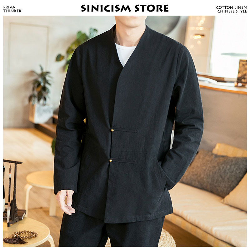 Sinicism Store Mens Vintage Jacket 2019 Man Button Windbreaker Harajuku Jacket Male Cotton Linen Black Jackets And Coats 5XL