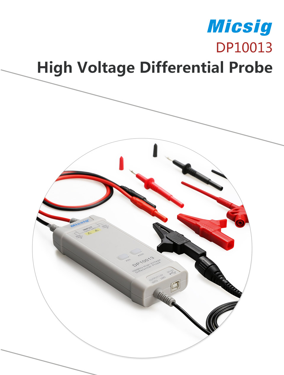 UK 100MHz 50X-500X Oscilloscope High Voltage Differential Probe USB DC5V output