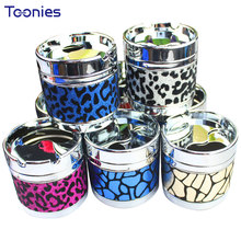 Table Ashtray with Lids Rotate High Quality Metal Fashion Leopard Skin Home Decor Cendrier Ashtray Sealed Portable Cigarette Box(China)