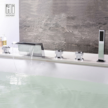 HIDEEP Bathroom Equipment, Bathtubs,Hot And Cold Copper, Single Hole Cylinder Side Faucet, Waterfall A, With Hand Sprinkler(China)
