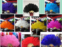 wholesale 6pcs natural Ostrich Feather Fan for Belly Dance Halloween Party Ornament Necessary 13 Bones Fan stage performance diy