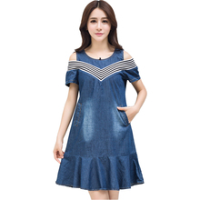 Buy 2017 summer plus size women clothing 4XL denim dress women cold shoulder striped spliced dresses pockets ruffled jeans dress for $18.78 in AliExpress store