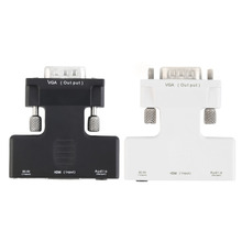 New HDMI Female to VGA Male Converter Adapter with Audio Cable Full HD 1080P Signal Output Convertor For HDTV Black & White