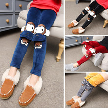 2017 New Girls Leggings for Kids Cartoon Monkey Pants Girls Plus Velvet Leggings Winter Thicken Warm Children Trousers 2-12Y()