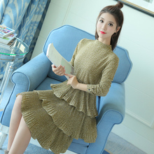 New Irregular Beautiful Dress 2017 Spring Pleated Floral Women Dresses Long Sleeve Preppy Style Clothing