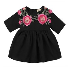Lovely Princess Baby Girls Dress Black Color Short Sleeves 3D Rose Floral Printed Party Summer Dress(China)