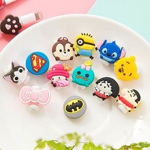 200pcs/lot Cartoon USB Cable Earphone Protector headphones line saver For Mobile phone charging line data cable protection(China)