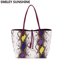 Brand Serpentine Women Leather Handbag Fashion Shopping Women Shoulder Bags Snake Female Big Tote Famous Ladies Top-Handle Bags